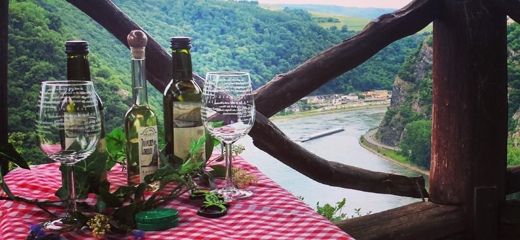 Aussicht mit Wein