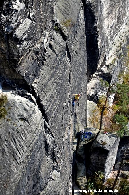 Klettern im Elbsandsteingebirge in der Sächsischen Schweiz