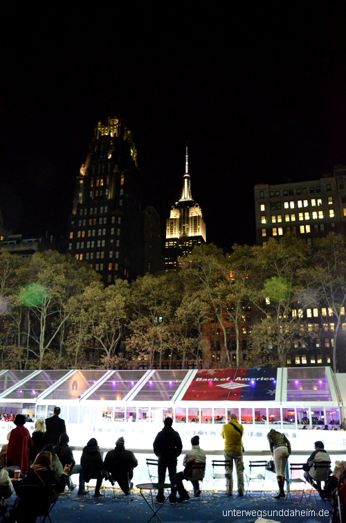 Schlittschuhlaufen in New York - the Pond im Bryant Park