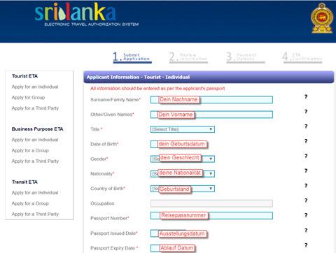 Sri Lanka Visum beantragen